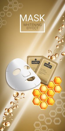 Honey skin care mask ads. Vector Illustration with honey smoothing mask and packaging. Vertical banner.