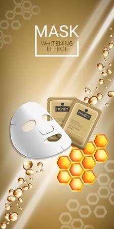 蜂蜜肌ケア マスク広告。蜂蜜のスムージング マスクと包装のベクトル図。垂直バナー。  イラスト・ベクター素材