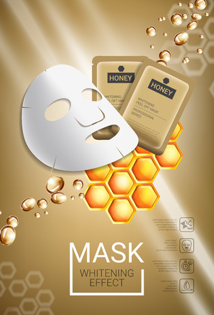 Honey skin care mask ads. Vector Illustration with honey smoothing mask and packaging. Vertical poster. Illustration