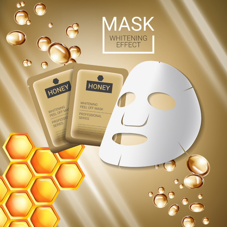 busting: Honey skin care mask ads. Vector Illustration with honey smoothing mask and packaging. Poster.