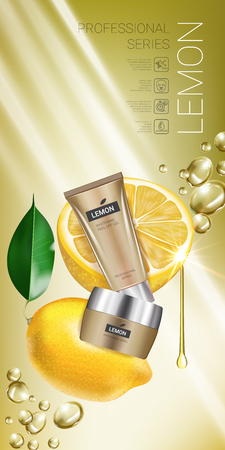 Lemon skin care series ads. Vector Illustration with lemon cream tube and container. Vertical banner.  イラスト・ベクター素材