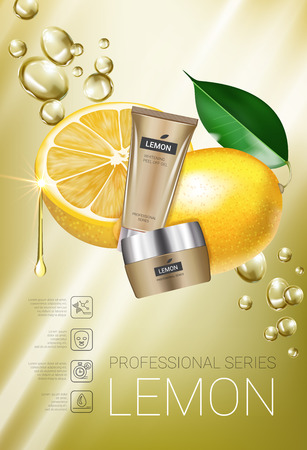 Lemon skin care series ads. Vector Illustration with lemon cream tube and container. Vertical poster.
