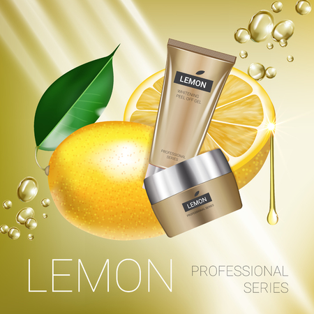 busting: Lemon skin care series ads. Vector Illustration with lemon cream tube and container. Poster. Illustration