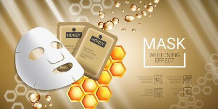 busting: Honey skin care mask ads. Vector Illustration with honey smoothing mask and packaging. Horizontal banner.