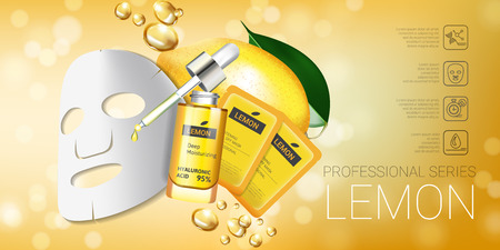 busting: Lemon skin care mask ads. Vector Illustration with lemon whitening mask and packaging. Horizontal Banner. Illustration