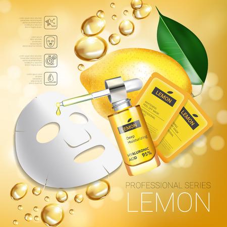busting: Lemon skin care mask ads. Vector Illustration with lemon whitening mask and packaging. Poster.