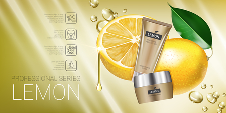 Lemon skin care series ads. Vector Illustration with lemon cream tube and container. Horizontal banner. Illustration
