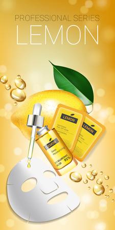 Lemon skin care mask ads. Vector Illustration with lemon whitening mask and packaging. Vertical Banner. Stock Vector - 77851774