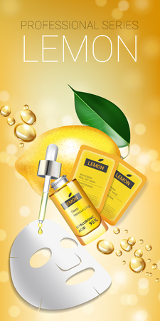 Lemon skin care mask ads. Vector Illustration with lemon whitening mask and packaging. Vertical Banner. Ilustração