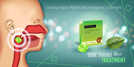 Cough Drops ads. Vector 3d Illustration with mint pills for throat. Horizontal banner with product's package.