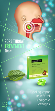 Cough Drops ads. Vector 3d Illustration with mint pills for throat. Vertical banner with products package. Illustration