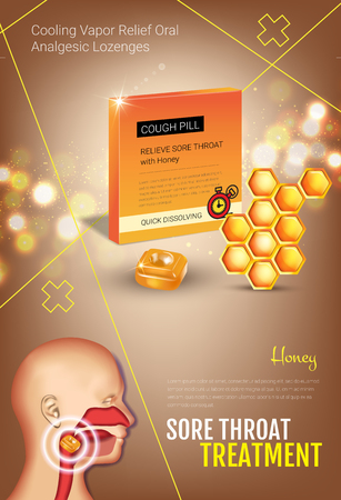 tonsillitis: Cough Drops ads. Vector 3d Illustration with honey pills for throat. Vertical poster with products package.