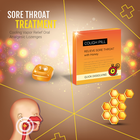 tonsillitis: Cough Drops ads. Vector 3d Illustration with honey pills for throat. Poster with products package.