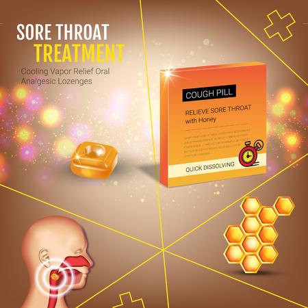 Publicités de la toux. Vector 3d Illustration avec des pilules de miel pour la gorge. Affiche avec le paquet du produit.