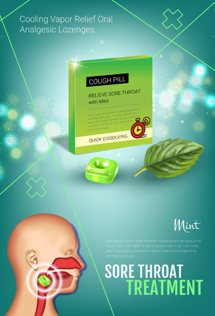 nasopharynx: Cough Drops ads. Vector 3d Illustration with mint pills for throat. Vertical poster with products package. Illustration
