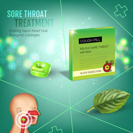 tonsillitis: Cough Drops ads. Vector 3d Illustration with mint pills for throat. Poster with products package.