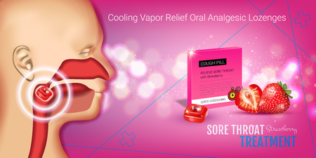 nasopharynx: Halls Cough Drops ads. Vector 3d Illustration with strawberry pills for throat. Horizontal banner with products package.