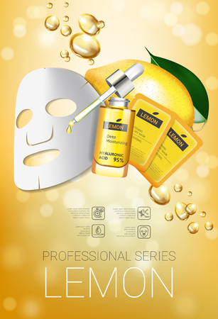 Lemon skin care mask ads. Vector Illustration with lemon whitening mask and packaging. Vertical Poster.