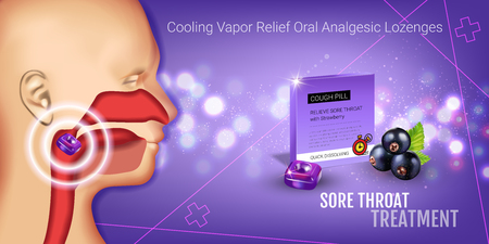 tonsillitis: Cough Drops ads. Vector 3d Illustration with blackcurrant pills for throat. Horizontal bannerl with products package.