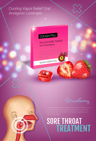 Cough Drops ads. Vector 3d Illustration with strawberry pills for throat. Vertical poster with products package.
