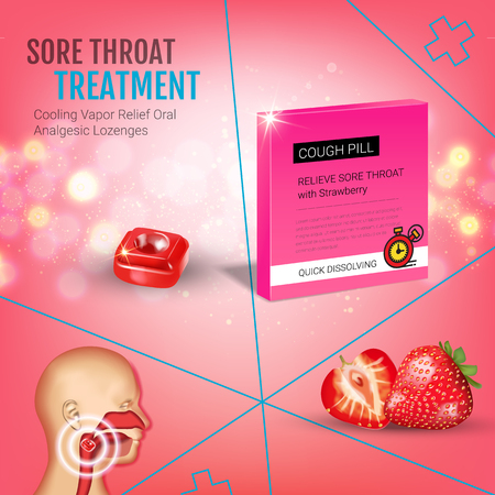 Cough Drops ads. Vector 3d Illustration with strawberry pills for throat. Poster with products package.