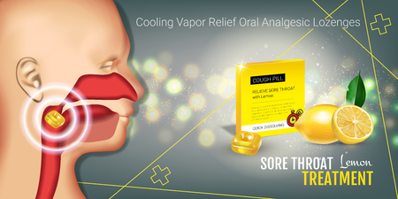nasopharynx: Cough Drops ads. Vector 3d Illustration with lemon pills for throat. Horizontal banner with products package.