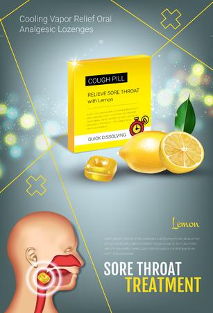 Publicités de la toux. Vector 3d Illustration avec des pilules au citron pour la gorge. Affiche verticale avec le paquet du produit.