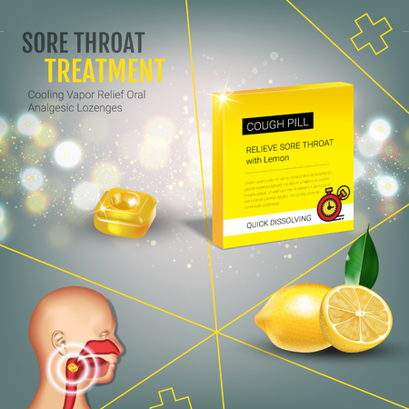 tonsillitis: Cough Drops ads. Vector 3d Illustration with lemon pills for throat. Poster with products package.