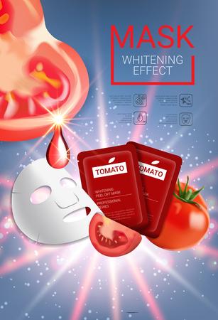 トマト肌ケア マスク広告。トマト マスクと包装とベクトル図です。垂直のポスター。 写真素材 - 77845649