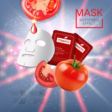 busting: Tomato skin care mask ads. Vector Illustration with tomatoes mask and packaging. Poster.