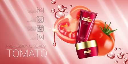 Tomato skin care series ads. Vector Illustration with tomatoes and cream tube and container. Horizontal banner. Stock Vector - 77845644