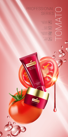 Tomato skin care series ads. Vector Illustration with tomatoes and cream tube and container. Vertical banner. Illustration