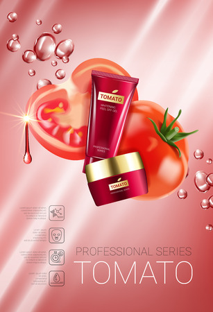 Tomato skin care series ads. Vector Illustration with tomatoes and cream tube and container. Vertical Poster. Ilustração