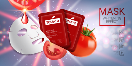 Tomato skin care mask ads. Vector Illustration with tomatoes mask and packaging. Horizontal banner.