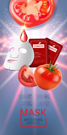 Tomato skin care mask ads. Vector Illustration with tomatoes mask and packaging. Vertical banner.
