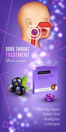 Halls Cough Drops ads. Vector 3d Illustration with blackcurrant pills for throat. Vertical banner with products package. Illustration