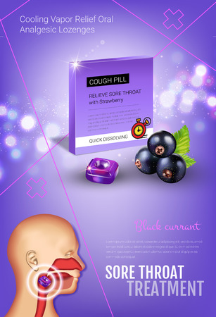 Halls Cough Drops ads. Vector 3d Illustration with blackcurrant pills for throat. Vertical poster with products package.