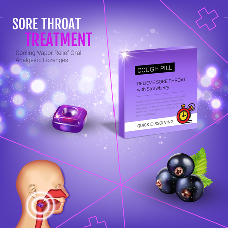 tonsillitis: Halls Cough Drops ads. Vector 3d Illustration with blackcurrant pills for throat. Poster with products package. Illustration