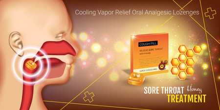 tonsillitis: Cough Drops ads. Vector 3d Illustration with honey pills for throat. Horizontal banner with products package. Illustration