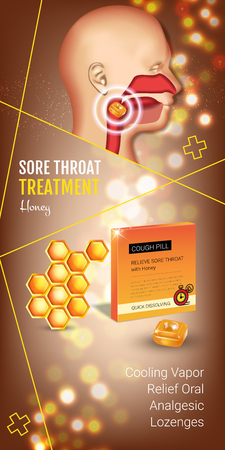Cough Drops ads. Vector 3d Illustration with honey pills for throat. Vertical banner with products package.