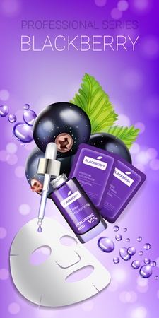 Blackcurrant skin care mask ads. Vector Illustration with blackcurrant smoothing mask and serum Stock Vector - 78444083