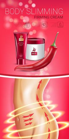 Anuncios de la serie del cuidado de la piel del cuerpo. Ilustración vectorial con el cuerpo de chile pimienta adelgazante endurecimiento crema tubo y contenedor Foto de archivo - 78444084