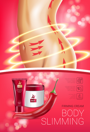 Body skin care serie advertenties. Vectorillustratie Met Chili Pepper Body Afslanken Bevestigende Roombuis En Container Stock Illustratie