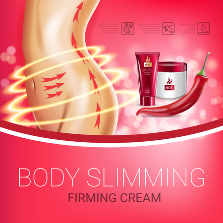 Body skin care series ads. Vector Illustration with chili pepper body slimming firming cream tube and container. Poster.
