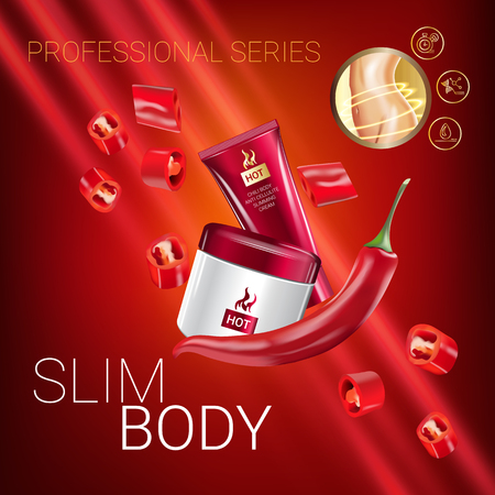 Body skin care series ads. Vector Illustration with chili pepper body slimming firming cream tube and container