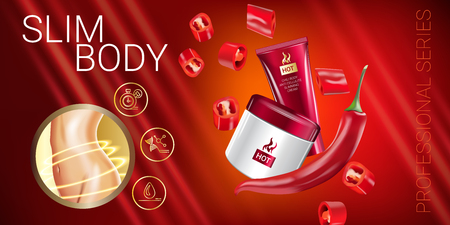 hot woman: Body skin care series ads. Vector Illustration with chili pepper body slimming firming cream tube and container