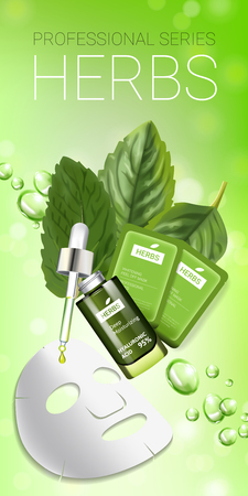 Herbal skin care mask ads. Vector Illustration with herbal smoothing mask and serum