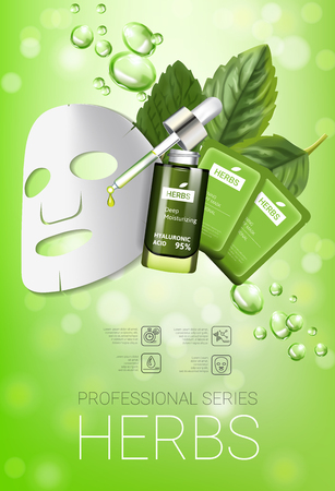 smoothing: Herbal skin care mask ads. Vector Illustration with herbal smoothing mask and serum