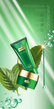 Cooling mint skin care series ads. Vector Illustration with mint leaves, smoothing cream tube and container