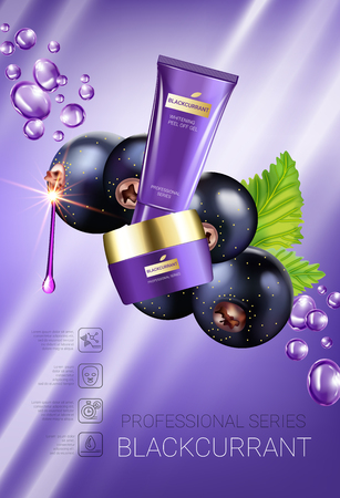 Black currant skin care series ads. Vector Illustration with blackcurrant, smoothing cream tube and container. Vertical poster. Illustration
